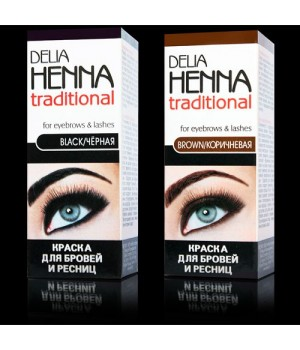 <Delie Cosmetics> Краска для БРОВЕЙ и РЕСНИЦ &quot;Delia Henna&quot; чёрная К50