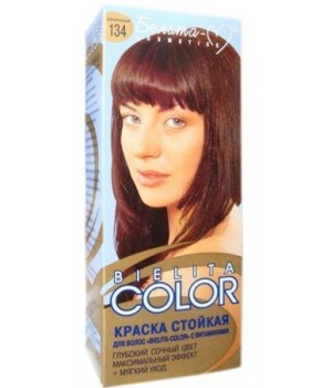 <Белита-М> Краска стойкая для волос &quot;Bielita Color&quot; c витаминами №134 (коричневый) 50/16